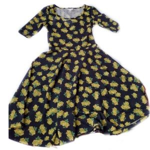 Lularoe Nicole Black, Yellow and green Floral Dres